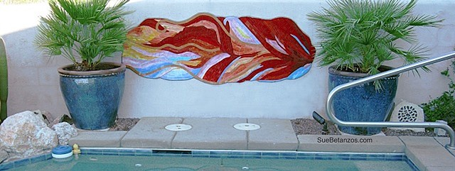 mosaic mural, stained glass mosaic mural, red glass mosaic, stained glass mural