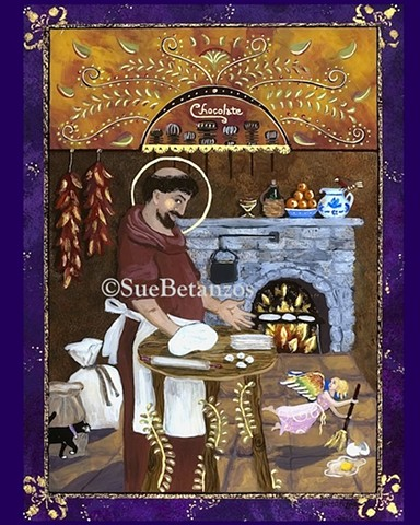 reverse glass painting, san pasqual, kitchen saint, folklore, saint, cooking, kitchen, angel, cat, chocolate, tortilla, chilis, purple