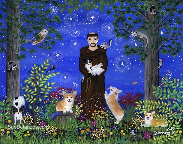 st. Francis of assisi, Sue Betanzos,  reverse glass painting, glass painting, Corgi, Papillon, dog, cat, pet, custom pet portrait, pet memorial, forest wildlife, saint, angel, deer, cardinal, starry night