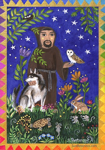 St. Francis Nature Lover painting, original St. Francis painting, Sue Betanzos art, Christmas gift, holiday gift, Christmas art, sue betanzos design, miniature painting, miniature animal painting, st. francis of assisi, starry night, owl art, barn owls, w