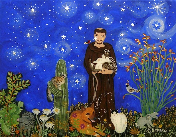 St. francis of Assisi, Pet Portrait, dog portrait, cat portrait, starry night, desert night, catholic art, catholic saint, sue betanzos, st. francis painting, dog painting, cat painting, pet glass painting, pet portrait, pet artwork, pet memorial artwork,