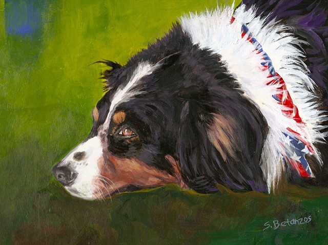 Australian Shepherd, Australian Shepherd rescue, dog painting, Sue Betanzos, Australian shepherd painting, pet portrait painting, dog painting, contemporary dog painting, herding dog painting, pet memorial painting,