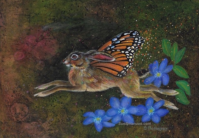 Hare, Monarch Butterfly, Fairy, Sue Betanzos, animal artist, Fantasy animal, animal folktale, animal art, wildlife fantasy, butterfly art