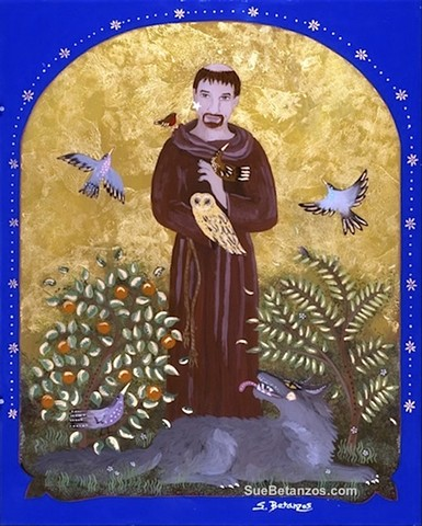 Glass painting, glass art, art glass, reverse glass painting, st. francis of assisi, reverse glass painting, glass art, art glass, glass painting, sue betanzos, st. francis of assisi art, st. francis of assisi painting, catholic saint, catholic art, rever