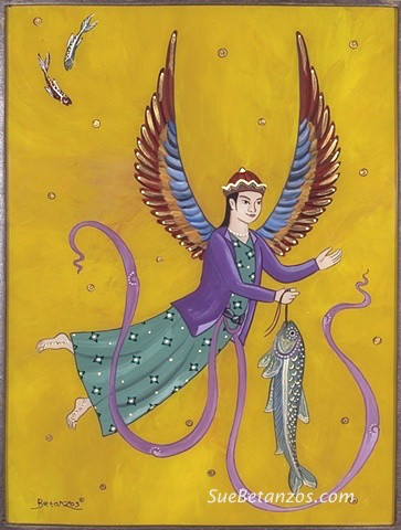 catholic art, catholic saints, saints, sue betanzos, angel glass painting, saint raphael painting, arch angel painting, reverse glass painting, saint painting, persian folktale painting