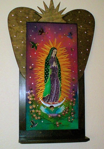 Virgin de Guadalupe, Sue Betanzos Art, Christmas gift, holiday gift, Christmas art, Glass painting, glass art, art glass, reverse glass painting, glass art, art glass,Virgin de Guadalupe, Saint art, catholic art, glass painting, sue betanzos, reverse glas