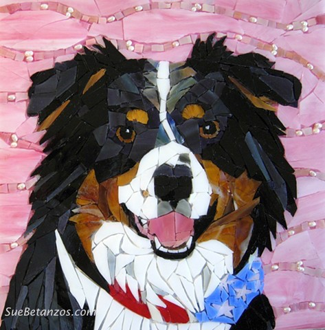 sue betanzos, Glass mosaic, stained glass mosaic, australian shepherd, aussie, dog, pet mosaic, pet portrait, stained glass mosaic, tri-color, pet portrait mosaic, red, gold, contemporary mosaic, pet memorial mosaic