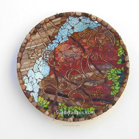 sue betanzos, mosaic mirror, Mosaic plate, 12 inch, stained glass mosaic, vintage beads mosaic, gold, reverse glass painting, dog mosaic, southwest mosaic canyon, southwest, tempered glass mosaic, stained glass mosaic,