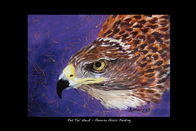 raptors, hawk, reverse glass painting, Hawk framed print, red tailed hawk, southwest, wildlife. arizona, SueBetanzos