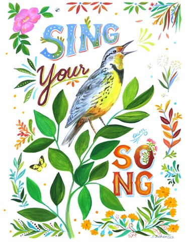 bird, songbird, bird painting, Lark, sing, wildlife, sue betanzos, meadowlark, wildflowers, bird song, nature print, bird print, songbird print, meadowlark art print