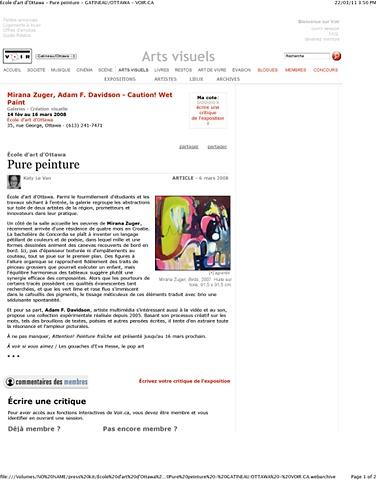 VOIR Gatineau/ Ottawa, Vol. 8 No. 10,  Pure Peinture by Katy Le Van, Ottawa, Canada
