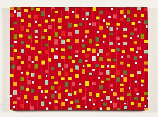 Colored Shapes on Red Colorfield #3