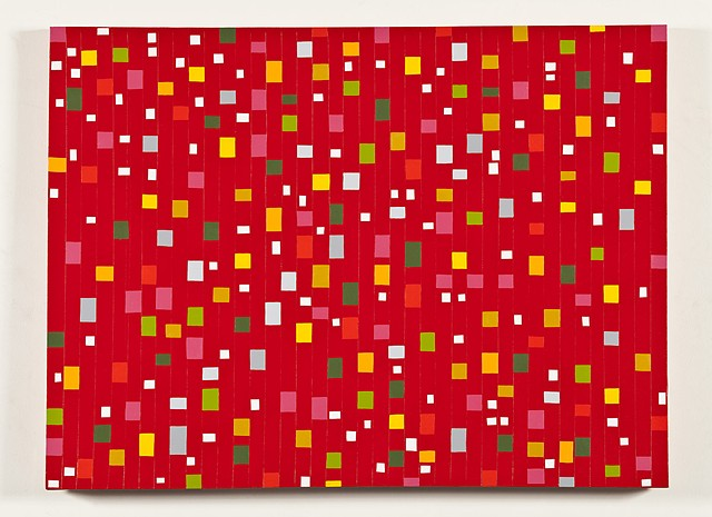 Colored Shapes on Red Colorfield #2