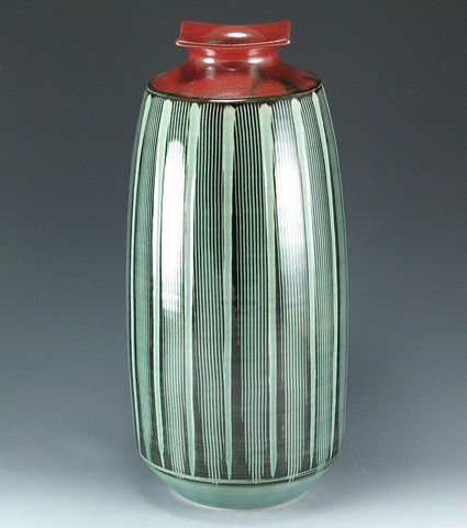 Large Iron Red and Celadon Vase