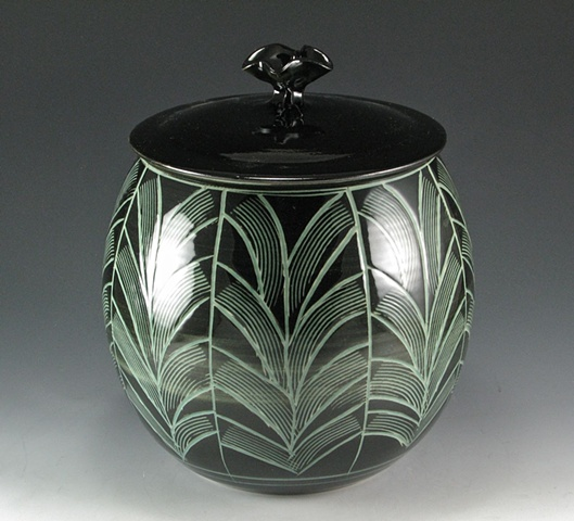 Black and Celadon Covered Jar