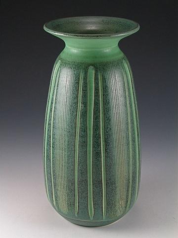 Matte Green Handcarved Vase