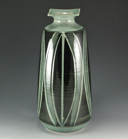 Large Black and Celadon Vase