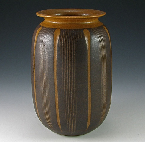 Handed Carved and Combed Vase