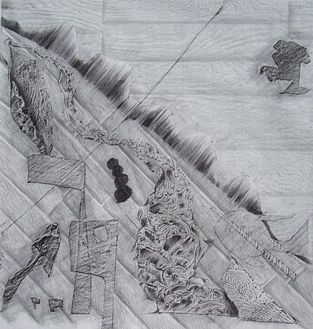 Topographical Map of the Artist's Studio Floor-Children's Drawings and Fast Food Ads