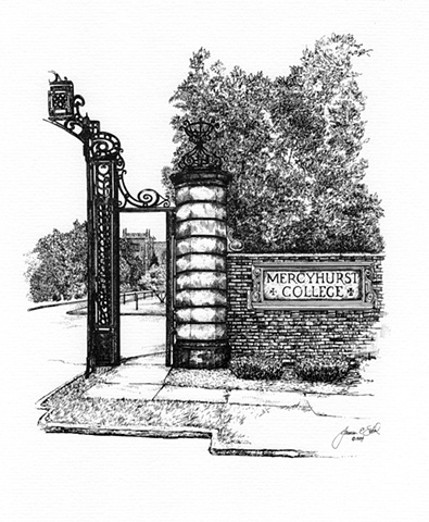 The Gates and Tower, Mercyhurst College, Erie, PA USA  1984