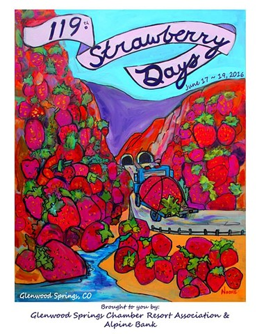 The Logo for the 2016 Strawberry Days Festival in Glenwood Springs, Colorado.