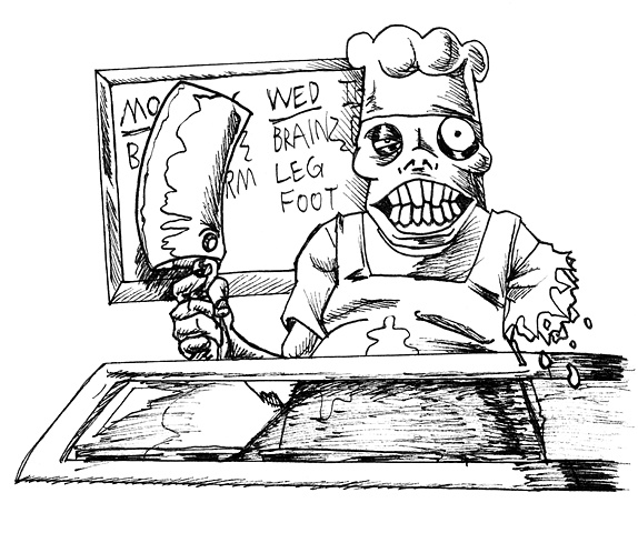 Zombie Short Order Cook. Card Artwork. Monster Class: Undead chef that serves sauteed brains, deep-fried fingers, and flanks, sunny side up.