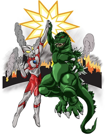 Ultraman & Godzilla - Epic High Five