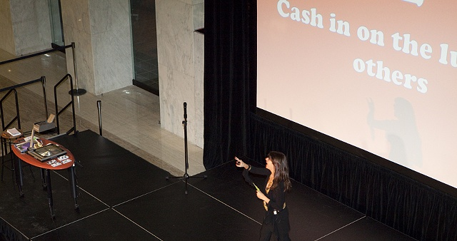 Brown gave a series of lecture-performances and workshops at First Canadian Place, in the financial district.
