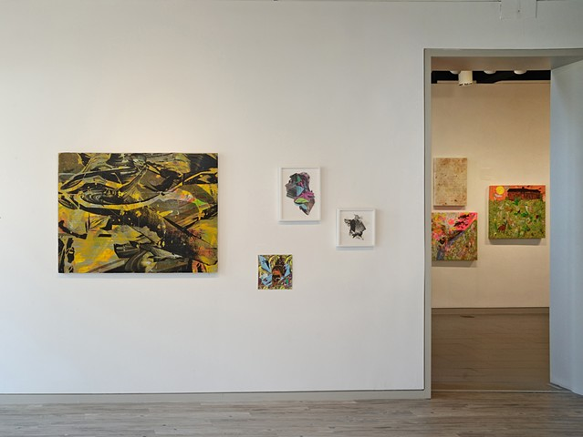 Ctrl+P installation view:  Kris Chatterson and Brian Chippendale (through doorway)