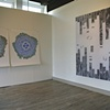 Melissa Brown, Lichen (Double) and Floorboards, installation view at AAC  Lichen, 2012, woodcut on rag paper, 50 x 55; Lichen (shade), 2012, woodcut on rag paper, 50 x 55; Floorboards, 2012, woodcut on banner fabric, 88 x 72