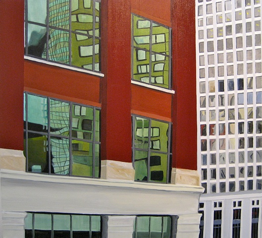 Oil Painting of Chicago Building Near Merchandise Mart.