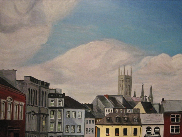 Oil Painting of Buildings in Kilkenny Ireland.