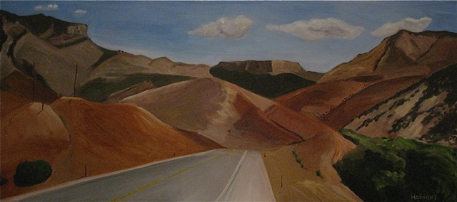 Oil Painting on the road in Wyoming.
