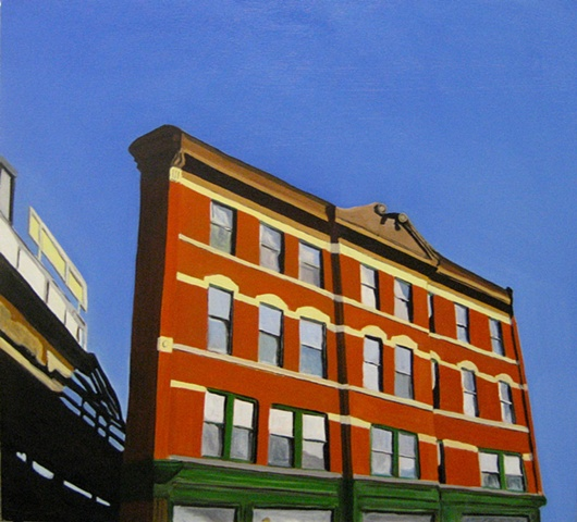 Oil Painting of Chicago Building Near 6 ways in Wicker Park. [SOLD}