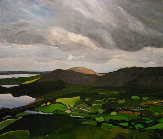 {SOLD}Oil Painting of Ballyvaughan Ireland from the Surrounding Burren Hills.