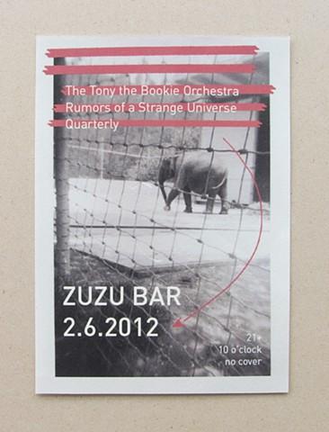 Flyer for a concert at ZUZU