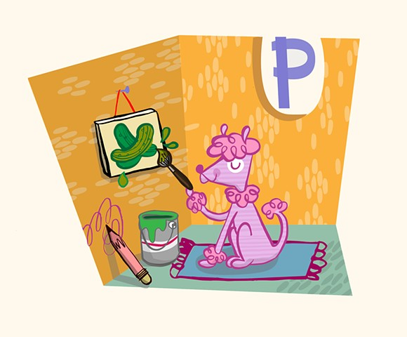 P is for Pink Poodle Painting Pickles