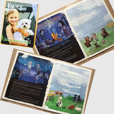 Faces Magazine Folk Tale Illustration October 2016, Cricket Media
