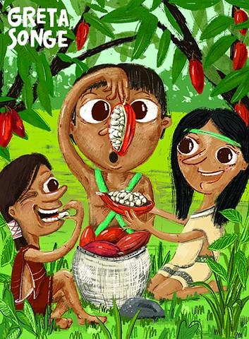 Cacao Pods--Illustration for ASK Magazine, Cricket Media