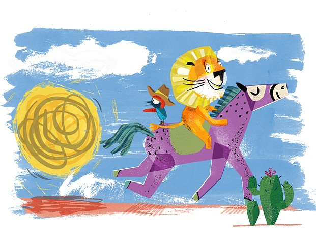 Lion and Bird Outrun The Giant Tumbleweed