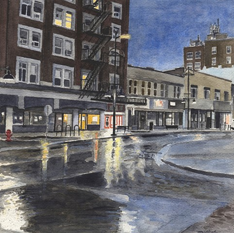 John Martinek Iowa City Watercolor Painting