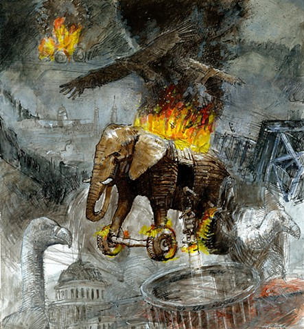 John Martinek Editorial Art Republican Party