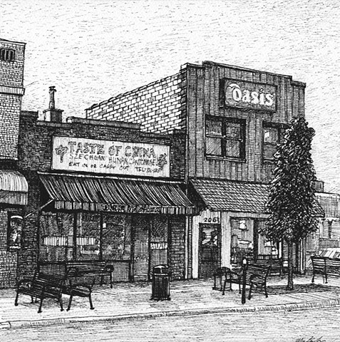 John Martinek Iowa City Pen and Ink Drawing