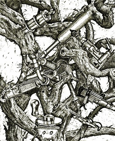 internet of things, pen and ink on paper, fracking, cancerous, ecological