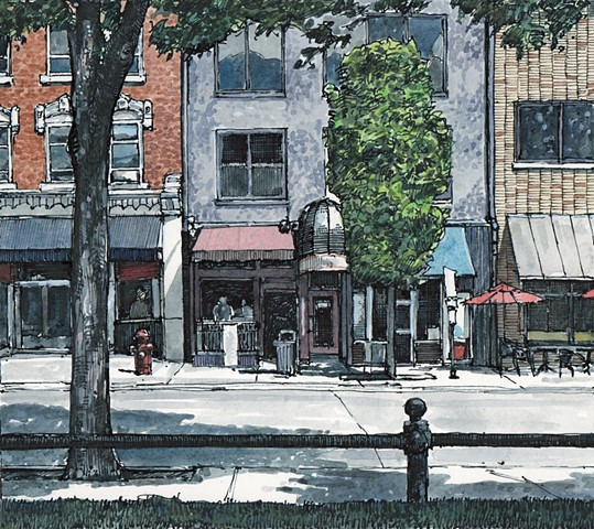 Iowa city painting, Clinton Street, watercolor, John Martinek