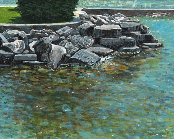 Painting of rocks along the marina in sister bay wisconsin