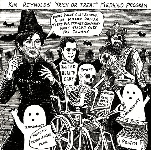 John Martinek editorial cartoon Kim Reynolds Medicaid Iowa