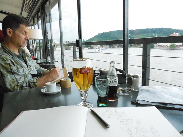Drawing on a Boat in Prague