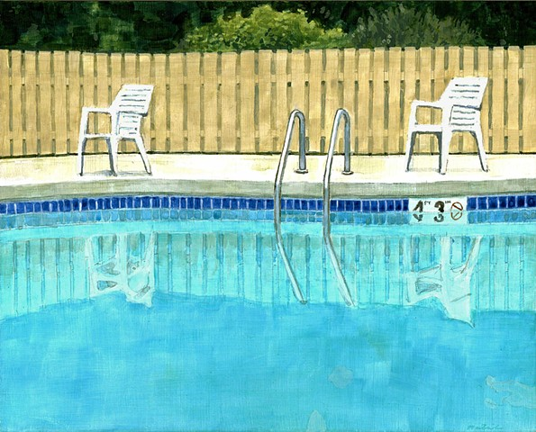 Painting of a pool in Sister Bay Wisconsin