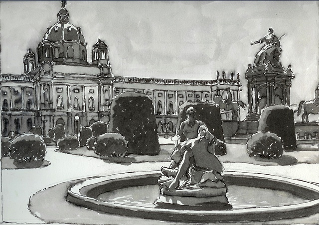 Pen and Ink Drawing, Vienna, John Martinek